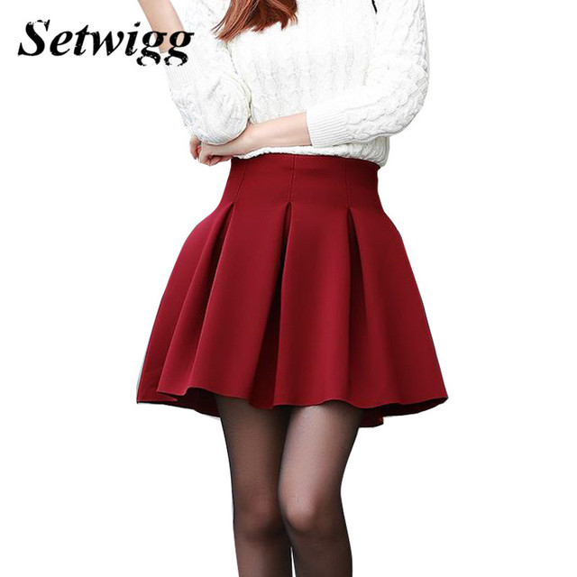 363c05c1928 SETWIGG Spring Puffy Ball Mini Skirt Zipper Pleated Solid  Burgundy Black Blue Sweet Short