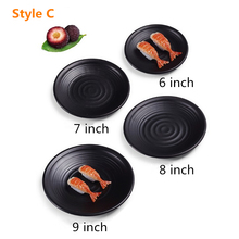 Hot Sale Melamine Plate Dish Black Round Sushi Spaghetti Steak Salad Container Hot Pot Shop Japanese Cuisine BBQ Kitchen 1 PC