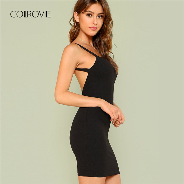 COLROVIE Open Back Solid Form Fitting Bodycon Dress 2018 New Summer  Spaghetti Strap Sexy Women Dress a007d7360b5e