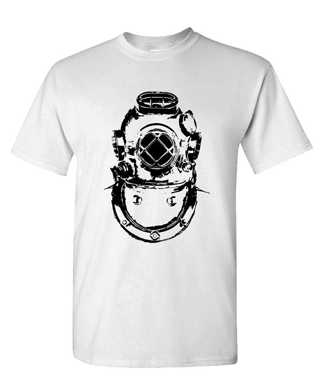Design t shirt gildan - Gildan Custom Tee Shirt Designer Nautical Diver Helmet Vintage Retro Style Mens Cotton T