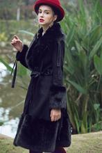 Women Big Fur Collar Coats Women's Long Leather Jacket Faux Fox Fur Collar Jackets Winter Warm Mosaic Suede's thick Coat