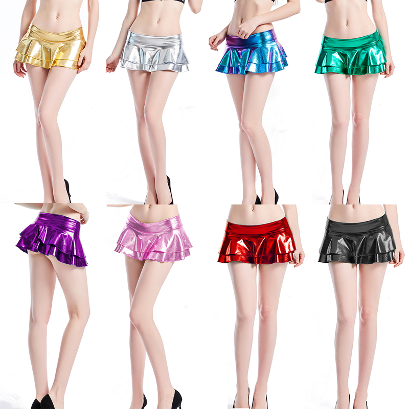 2019 New Spring Summer Women Neon Laser Metallic Shiny Bodycon Micro Mini Skirts Party Clubwear Short Skirt Solid Sexy Outwear