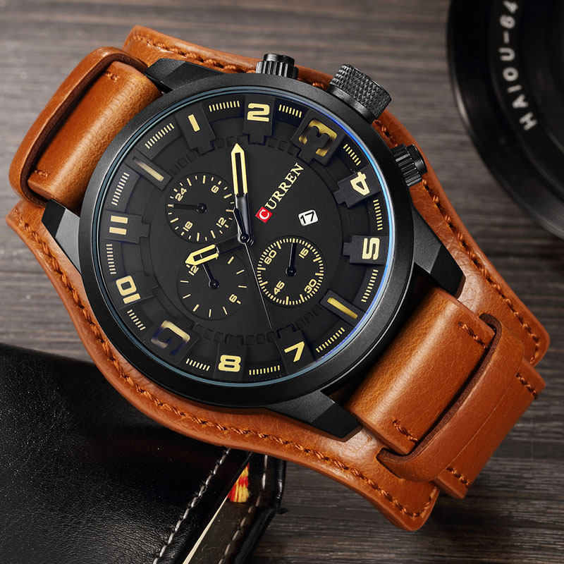Curren Men's Casual Sport Quartz Watch Mens Watches Top Brand Luxury Quartz-Watch Leather Military Watch Wrist Male Clock 8225 xinge top brand luxury leather strap military watches male sport clock business 2017 quartz men fashion wrist watches xg1080