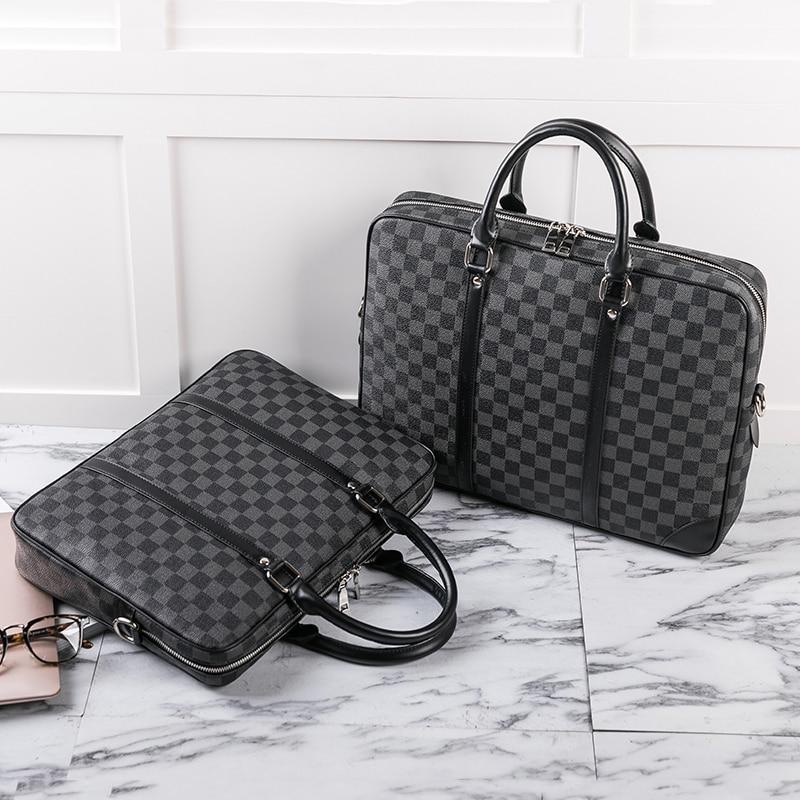 Luxury Men Casual Briefcase Bag PVC Leather vintage Shoulder bag for business Messenger Bags 14 inch Computer Laptop Handbags