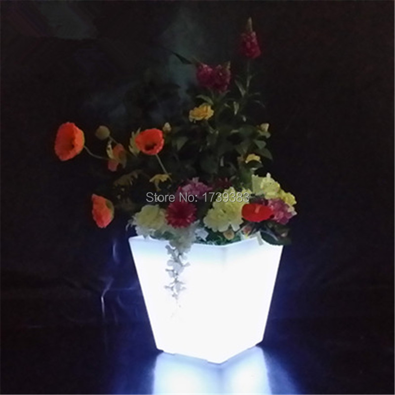 16 colors changing illuminated rechargeable Square Small S glowing LED Flower pot plant pot cube plastic led ice bucket rechargable led ice bucket 5 liter illuminated party cooler hennessy mini rechargeable led ice bucket