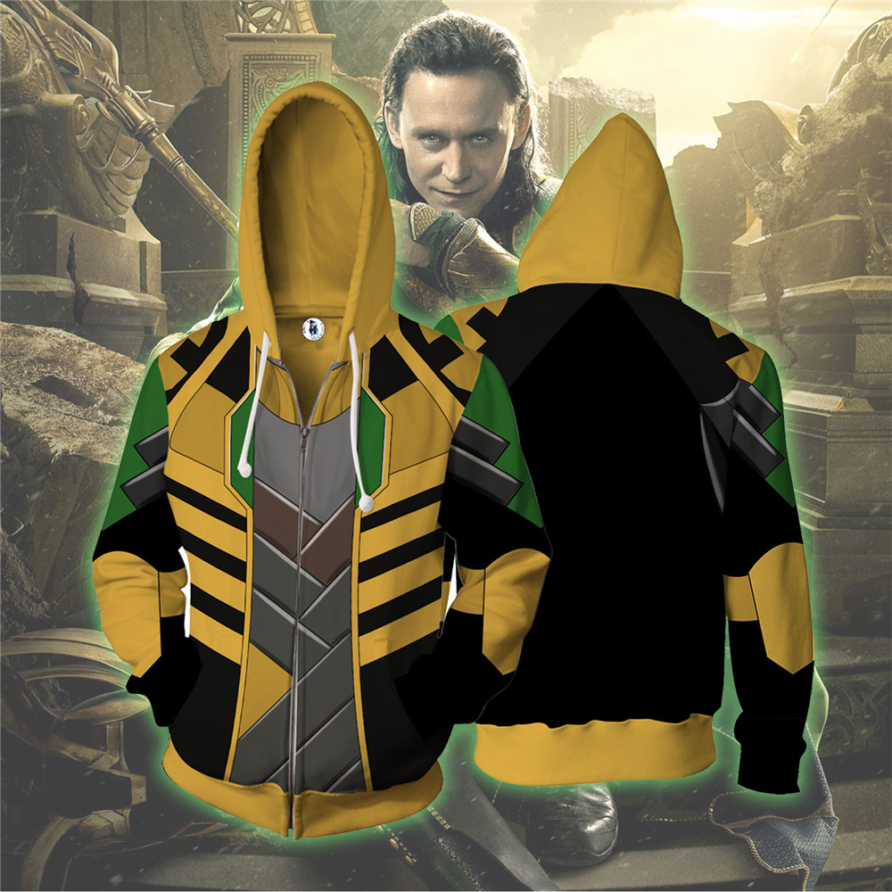 Mode Marvel Avengers Infinity Guerre Thor Loki Cool Veste Sweat À Capuche Casual Manteau Sport Vêtements Costume Cosplay hommes