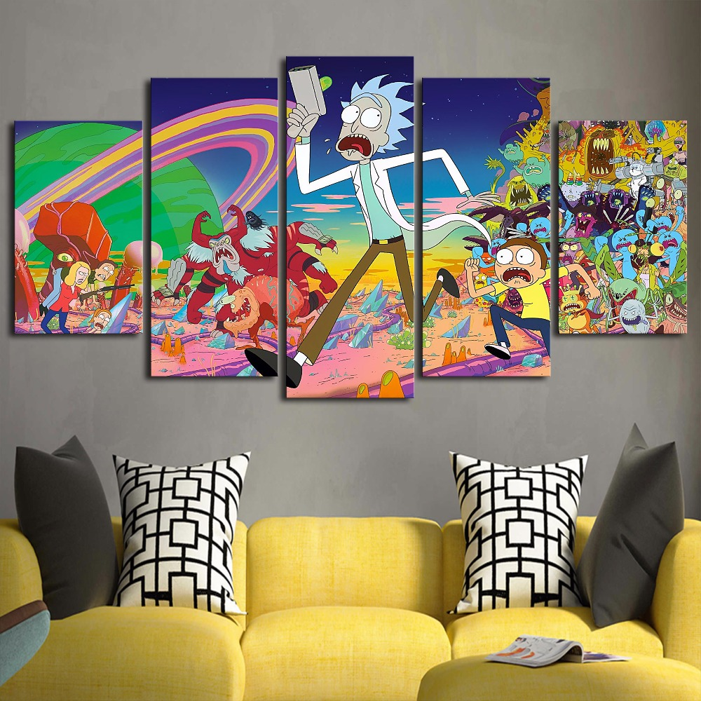 Picture Modular Decoration HD Wall Canvas Posters On Art Home 5P Rick And Morty Living Room Printed Painting Modern Frame