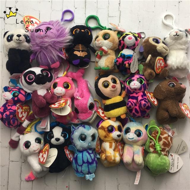 20pcs Lot Mixed Style 10CM Ty Beanie Boos Keychain Small Pendant Big Eyes  Plush toys  78b347188562