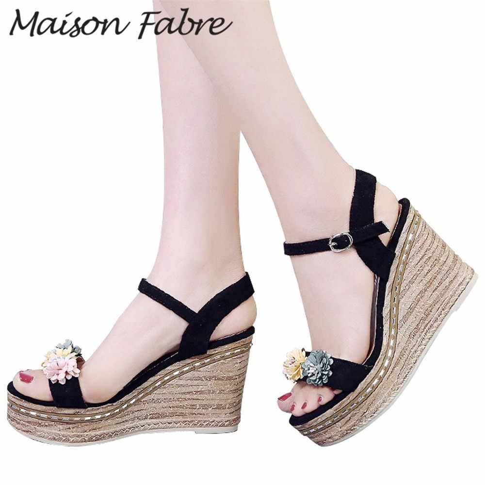 SAGACE נעלי נשים אבזם סנדלי טריז נעלי פרח קרסול רצועת גומי חוף סנדלי 2019 משאבות נשים נעלי 8cm עקבים סנדלי