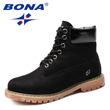 BONA New Arrival Classics Style Women Boots Flock Winter Shoes Round Toe Lady Ankle Comfortable Fast Free Shipping