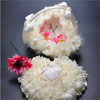 Lace Pearl Big Heart Shape Flower Girl Basket Bridesmaid Accessory Wedding Ceremony Favor
