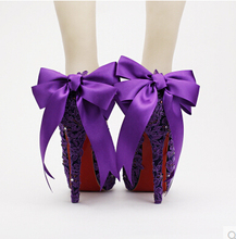 Wedding Shoes Woman High Heels Purple Flowers Bow Bridal ShoesVWaterproof Shoes Dress Feale Singles Round Shallow Pumps Sapatos