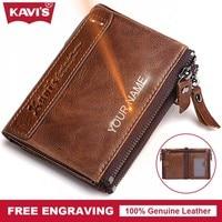 KAVIS Free Engrave Luxury Brand Men Wallets Male Coin Purse Fashion Vallet Portomonee PORTFOLIO Perse Card
