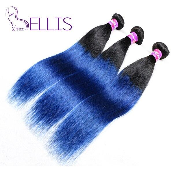 Grade 7a Brazilian Ombre Straight Blue Black Hair Extensions 1bblue
