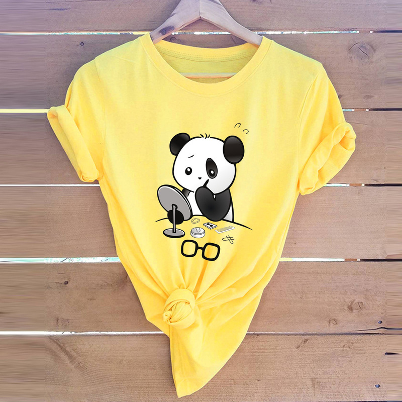 2019 Summer Women Tshirts Panda Put On Makeup Fashion Female T Shirt 100% Cotton O-Neck Short Sleeve T-Shirts New Casual Tops