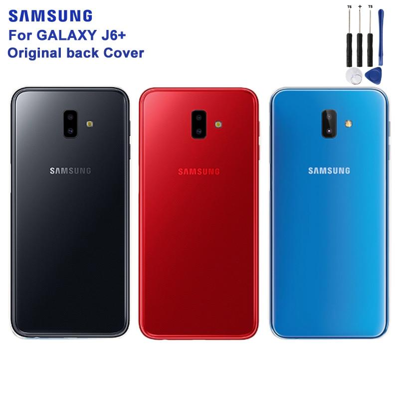 Original SAMSUNG Transparent Battery Cover For Samsung Galaxy J6+ J6 + Back Case Phone Backshell
