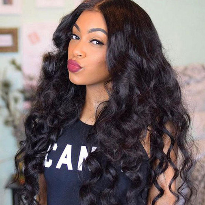 130 Density Loose Wave Wig Lace Front Human Hair Wigs For Women Natural Black Full End