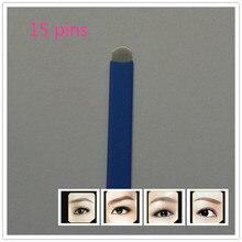 50 PCS U Shape – 15 Pin Permanent Makeup Blades 15 Needles For Manual Tattoo Pens