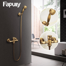 Fapully Antique Style Brass Copper Round Hand Shower Bath Tub Faucet Luxury Bathroom rain Head  Wall Mounted HS127