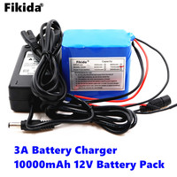 Fikida Brand New Original 18650 Lithium Ion Battery Pack 12V 10000mAh DC Portable Rechargeable Battery + 12V 3A Battery Charger