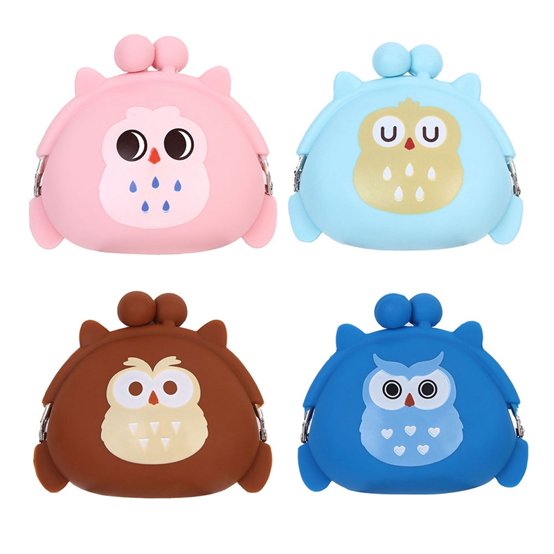 Kawaii Candy Owl Wallet Silicone Small Pouch Cute Coin Purse For Girl Key Wallet Children Mini Animal Case Storage Bag