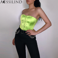 AOSSILIND Women Cropped Neon Green Party Tube Top Eleagent Strapless Corset Crop Top 2019 Summer Sexy Streetwear Bandeau Top недорого