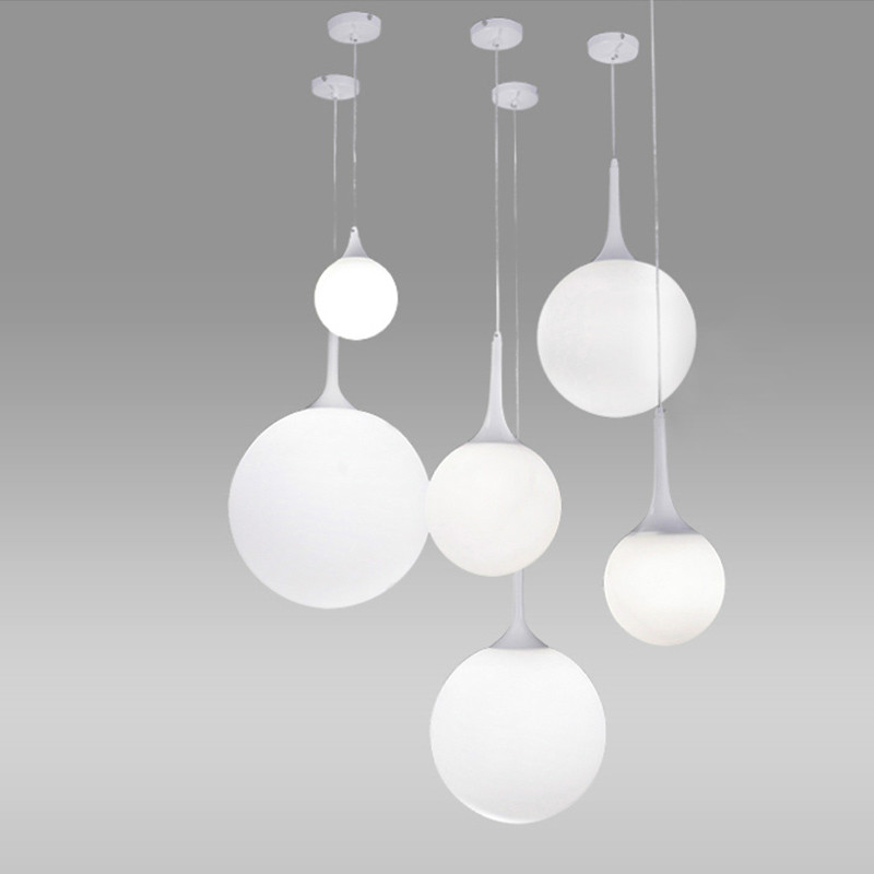 Post-modern Creative Nordic Milk White Glass Ball Led E27 Pendant Light For Dining Room Living Room Bar Restaurant Dia 15-40cm nordic modern 10 head pendant light creative steel spider lamps unfoldable living room dining room post modern toolery led lamp page 10