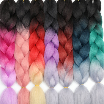 MERISIHAIR 24inch Ombre  Synthetic Crochet Hair Extensions Jumbo Braids Hairstyles Pink Red Blue Braiding - discount item  30% OFF Synthetic Hair