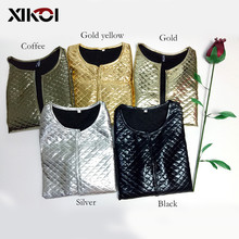 XIKOI New Fashion Women Lozenge Gold Sequins Short Jackets Three Quate