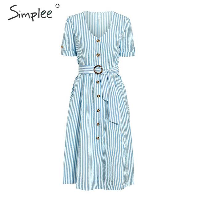 Casual Buttons Striped Women Summer Dress V Neck Sashes Plus Size Midi Vestidos Holiday Yellow Beach Dress