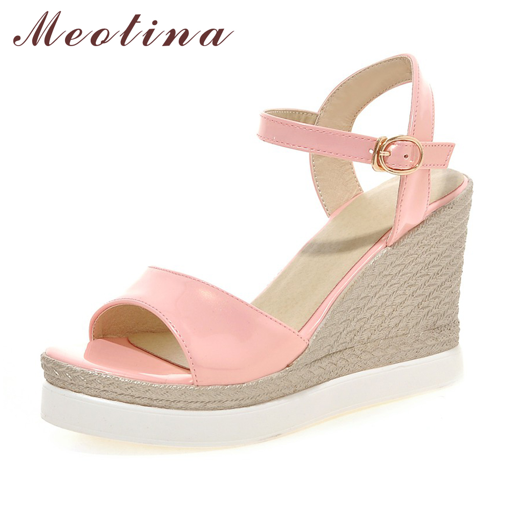 Meotina Summer Women Shoes Platform Sandals Wedge Heels Patent Leather Sandals Shoes Bohemia Ladies Sandals Pink Size 34-39 bohemia women casual platform sandals fashion rubber wedge gladiator sexy female sandals ladies summer women shoes dbt570