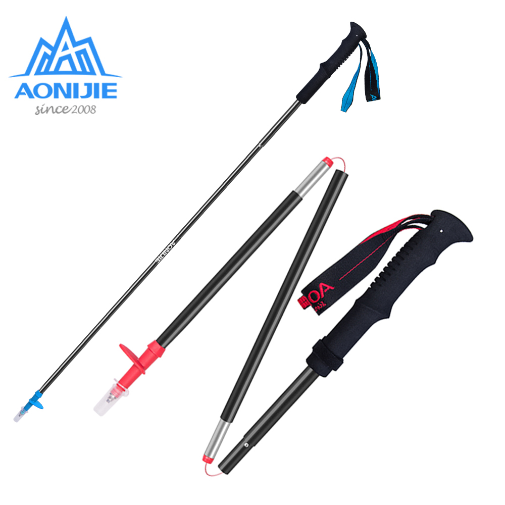 1 Piece AONIJIE Tri-fold Folding Ultralight Quick Lock Trekking Poles Hiking Pole Walking Running Stick Aluminium Alloy high quality 3 section straight grip aluminium alloy hiking walking stick