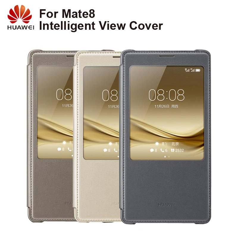 Huawei Original Smart Phone Case View Cover Flip Case For Huawei Mate8 Mate 8 Housing Sleep Function intelligent Phone Case-in Flip Cases from Cellphones & Telecommunications