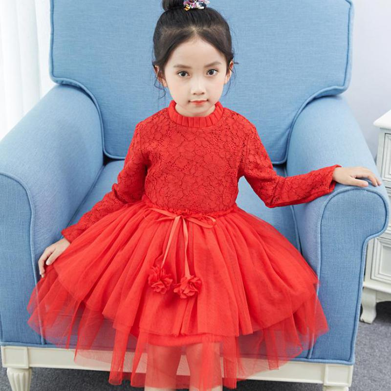 Toddler Girls New Lace Dress Long Sleeve Floral Girls Dresses Wedding Party Kids Baby Clothes Dresses Winter 2017 Christmas Gift