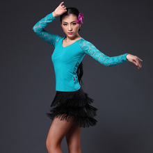 New sexy Latin dance suit lace long sleeved shirt tassels dance skirt acrobatics Costume