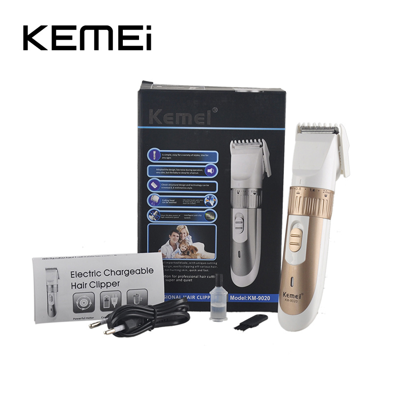 KEMEI KM-9020 Electric Hair Clipper Kemei Rechargeable Beard Trimmer With Comb Hair Cutting Machine for Men Haircut Adult child adult children rechargeable electric hair clipper beard trimmer hair cutting machine haircut styling tools hs11