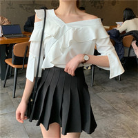 Women 2 Piece Dress Sets Retro Fashion Preppy Style One Shoulder Ruffled White Shirts&Pleated Mini Skirt Sets Students Outfits