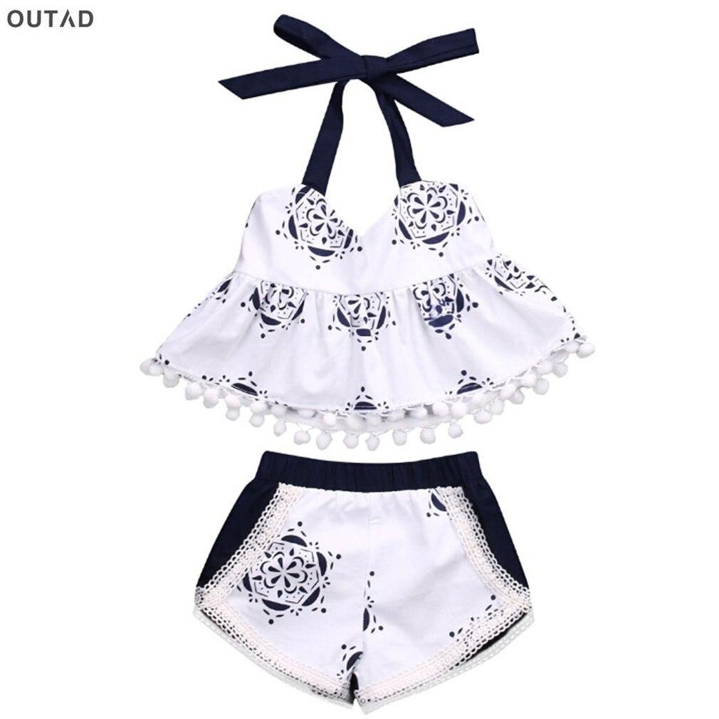 2Pcs Set! Summer Floral Printed Baby Girls Clothes Halter Tank Tops+Short Pants/Briefs Newborn Toddler Kids Outfits Clothing Set