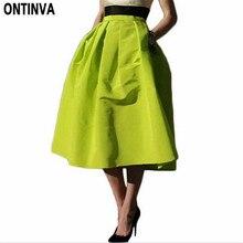 Ретро плиссированная юбка миди с высокой талией Saia Puff Новинка Atacado Roupas Femininas летние юбки женские Vestidos