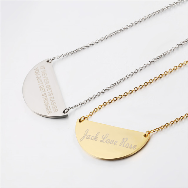 stainless steel necklace tag with engraved letters unique gift