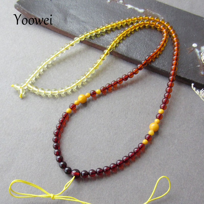 Yoowei Baltic Natural Amber Jewelry Necklaces Precious Gems Male Women Strand Neck Chain 4mm Rainbow Amber Jewellery for Unisex