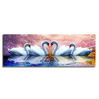Swan In The Lake 80x28 Diamond Embroidery Diy Diamond Square Drill Rhinestone Pasted Crafts Needlework Home