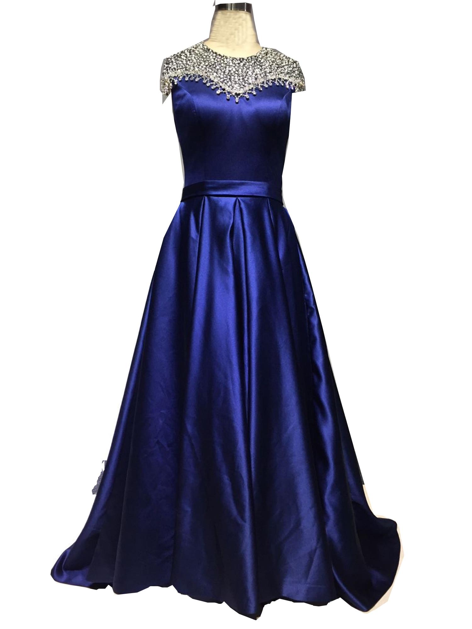 Satin une ligne ceintures fermeture éclair perles cristal robes de soirée portrait cristaux Swarovski bleu marine