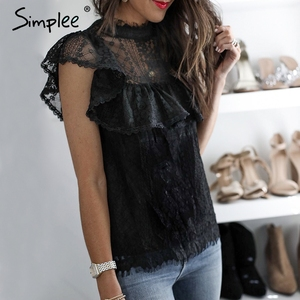 Image 4 - Simplee O ネックレース中空アウト女性ブラウスシャツ刺繍フリル裏地エレガントなブラウス女性サマーパーティーブラウスとトップス