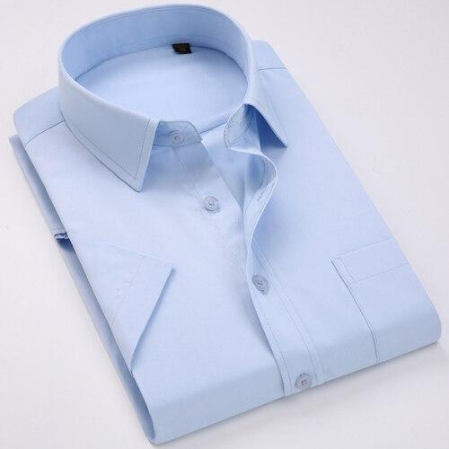Men's Regular-fit Summer Short Sleeve Solid Classic Shirt Single Patch Pocket Formal Business Work Office Basic Dress Shirts 21