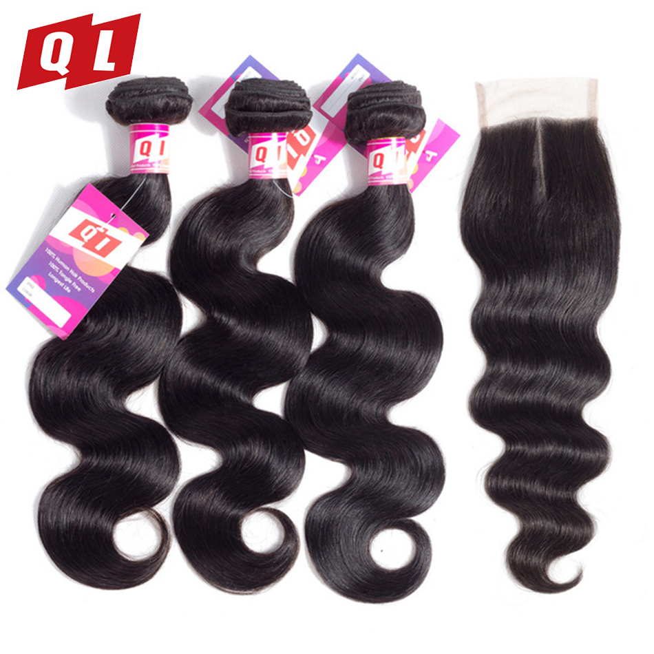 QLOVE HAIR Peruvian Body Wave 3 Bundles With Closure Natural Color Human Hair Weave With Lace