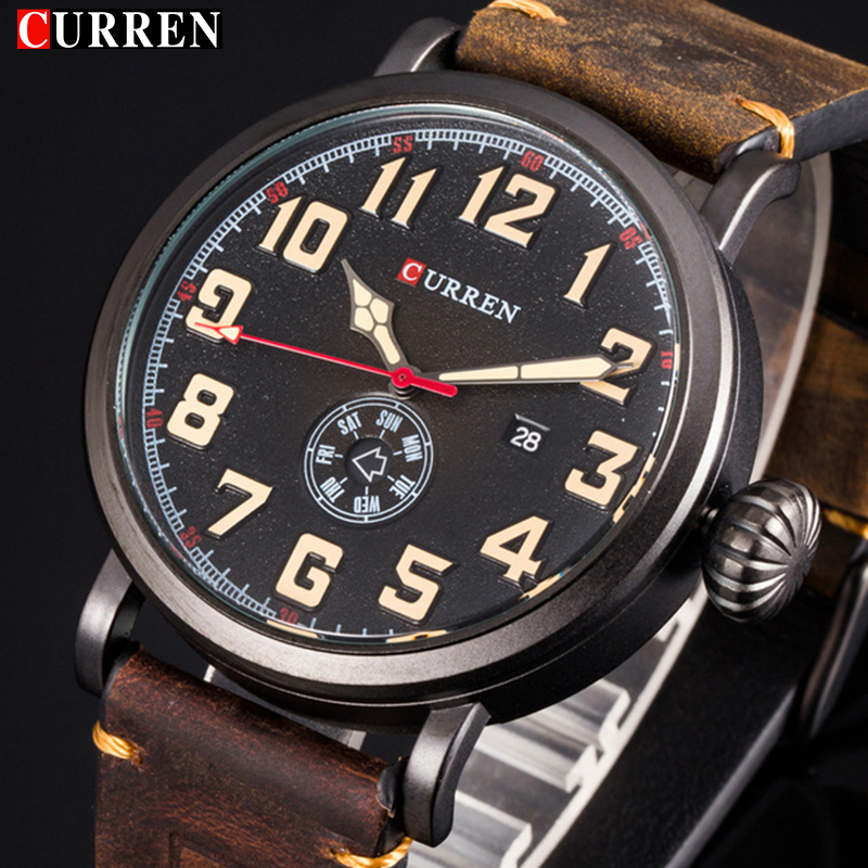 Curren Leather Band Watches Men Top Brand Relogio Masculino Mens Sports Clock Analog Quartz Wrist Sports Watch Reloj Hombre 8283 men watch sports brand curren watches relogio masculino fashion reloj hombre quartz watch male wristwatches clock montre homme