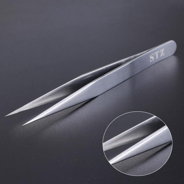 STZ 1pcs Stainless Steel Eyelash Extension Tweezers Straight Curved Curler For Eyelash-false Clip Makeup Nail Art Tools S01-05 2