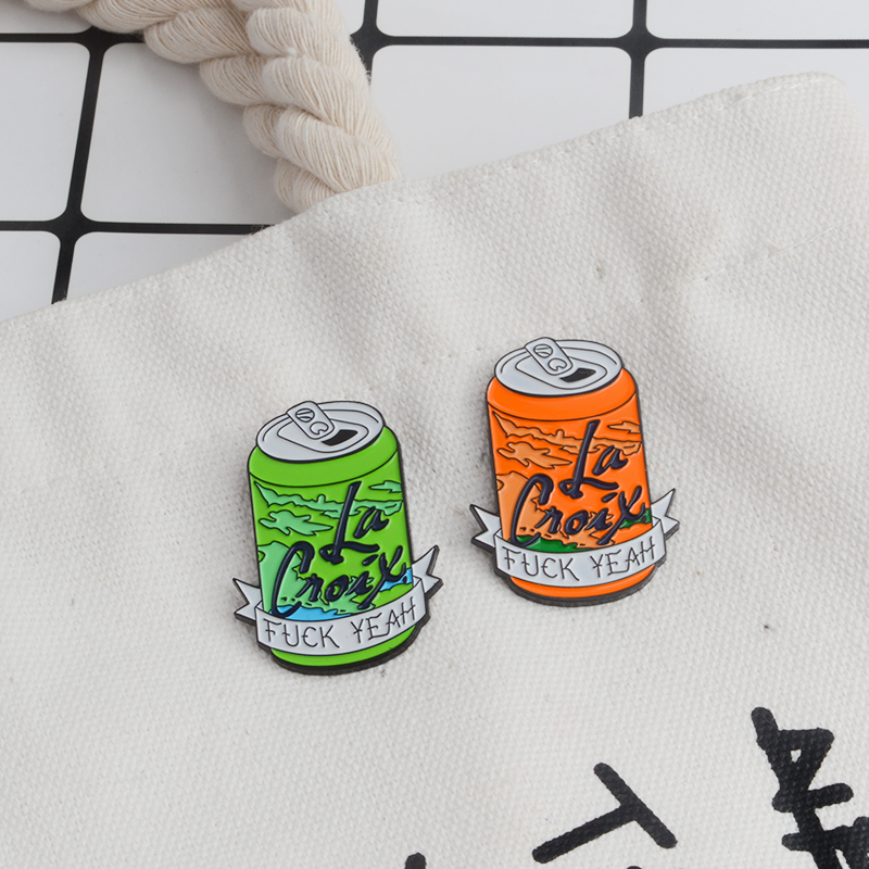 2pcs/set Beverage Can Brooch Enamel Pin Badge Green Orange F&K Yeah Brooch Pin Hat Bag Shirt Lapel Pin Buckle Gift For Women Men