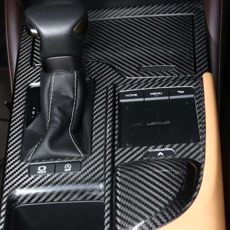 QHCP Del Cambio di Controllo del Pannello Pannello CD Scatola di Immagazzinaggio Della Copertura Supporto di Tazza di Acqua Adesivo In Fibra di Carbonio Fit Per Lexus ES200 260 300H 2018 - 5